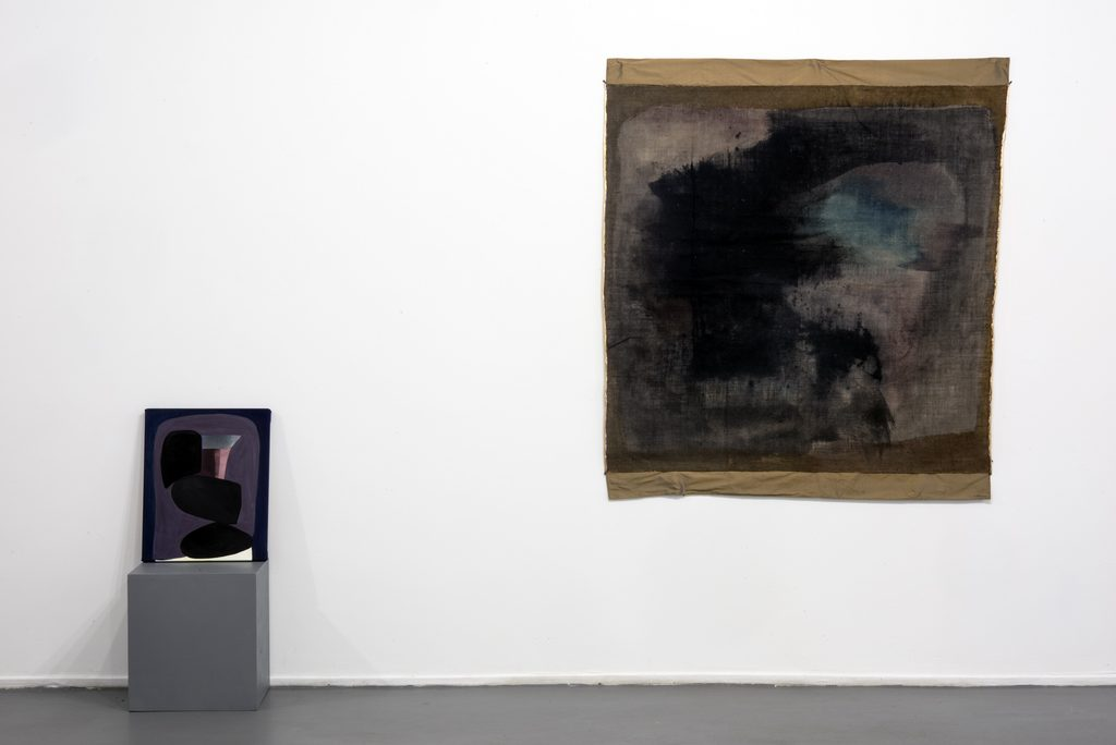Painting and sewn image, installation shot
