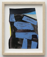 Collage drawing, 2013, black blue yellow, Untitled, Miami